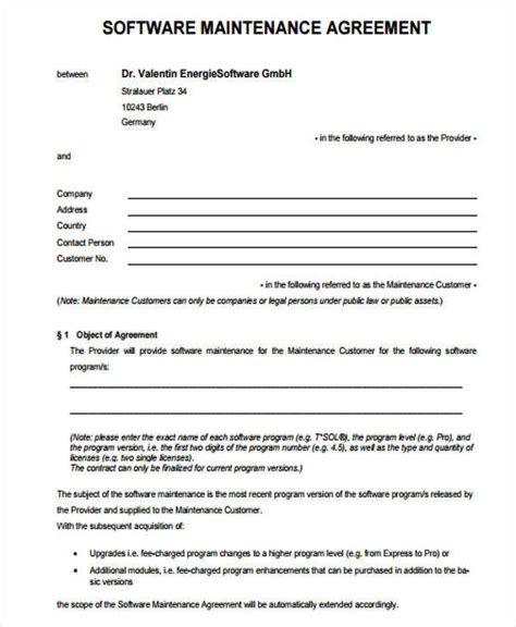 software maintenance agreement template 28 images