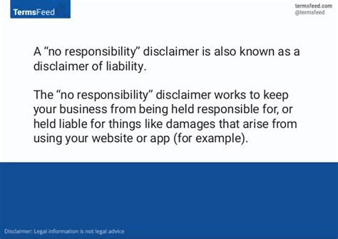 Disclaimer Exles No Responsibility Disclaimer Template