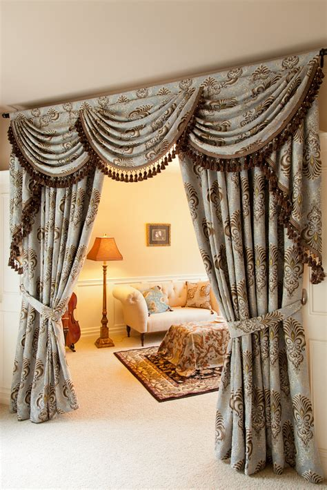 classic draperies bleu fleur de lis overlapping swag valances curtain drapes