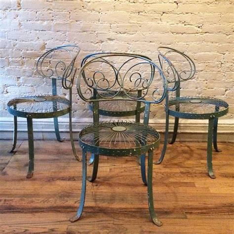 Green Wrought Iron Patio Furniture Set Of Green Wrought Iron Scroll Back Garden Chairs For Sale At 1stdibs