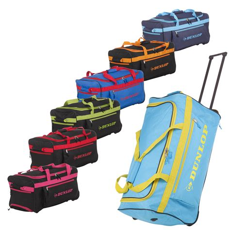 dunlop sports travel bag trolley handle wheels luggage carry lightweight new ebay