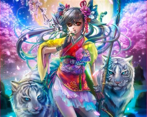 anime wallpaper tiger girl with tiger other anime background wallpapers on