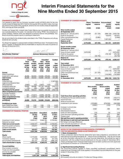 interim financial report template ngl interim financial statements ngc