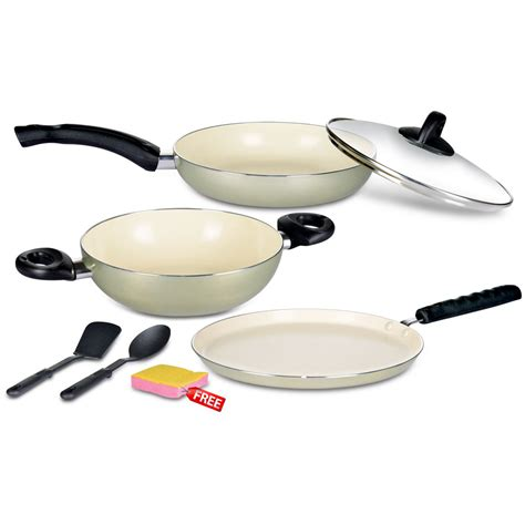 ceramic or induction which is best 6 pcs ceramic coated induction friendly non stick cookware set price buy 6 pcs ceramic coated
