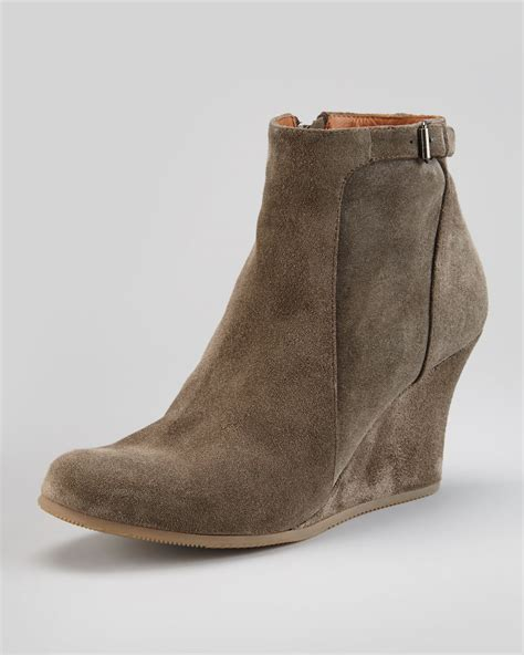 lanvin suede wedge ankle boot gray cishoes