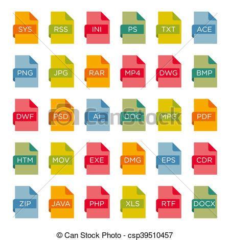 imagenes vectoriales extensiones conjunto extensiones archivo icono ilustraciones de