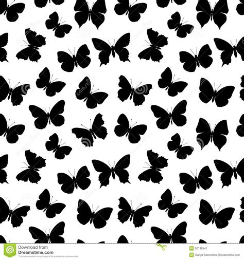 black and white butterfly pattern black and white seamless pattern butterfly stock vector