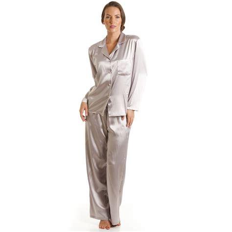 Pajamas Satin Grey by Luxury Satin Length Silver Grey Pyjama Set