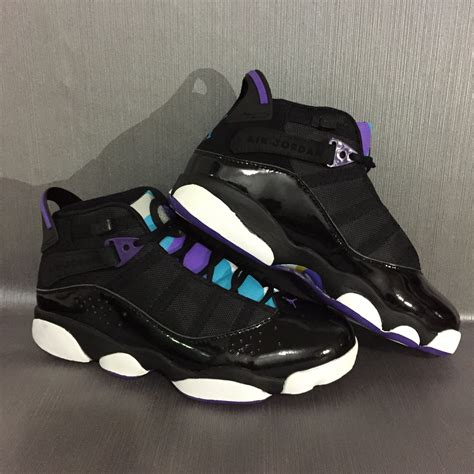 purple jordans shoes air 6 rings black purple shoes
