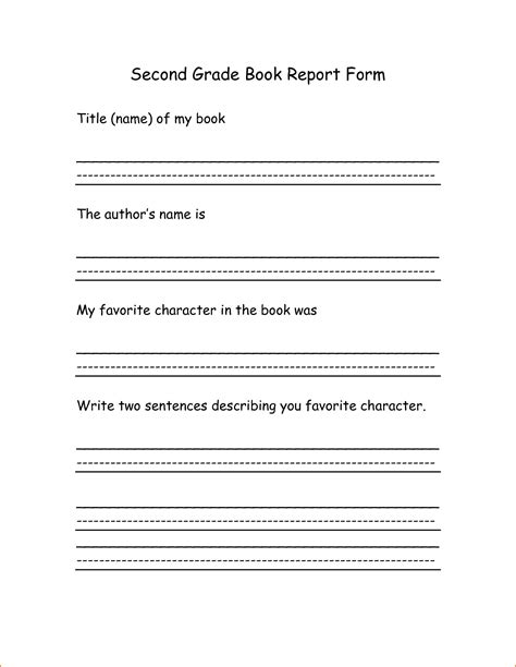 book report template grade book report for grade 5