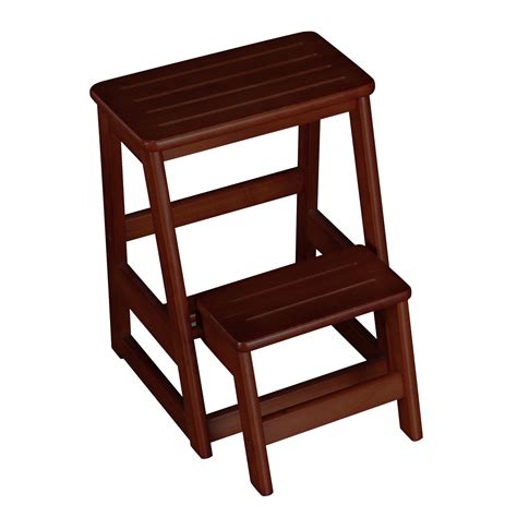 2 Step Folding Stool by Wildon Home 174 Folding Compact 2 Step Wood Step Stool