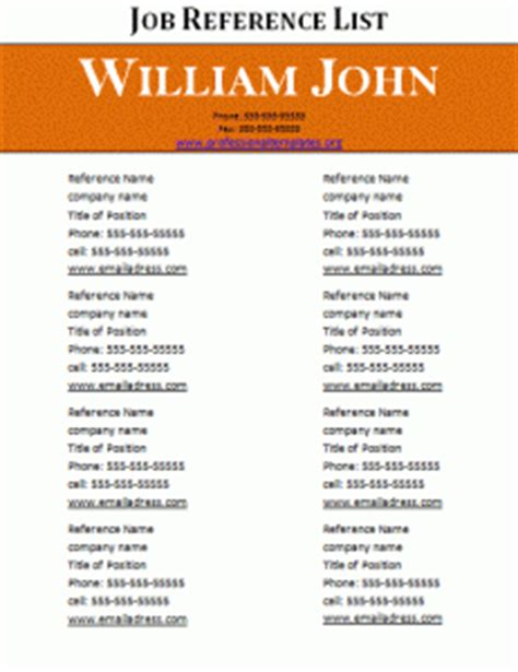 reference list template professional word templates