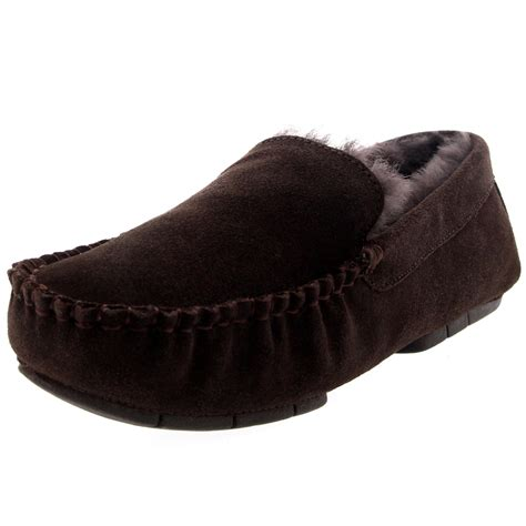 mens fur lined moccasin slippers mens genuine australian fur sheepskin fur lined suede
