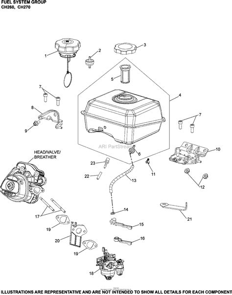 kohler ch  basic gross power   rpm  hp  kw parts diagram  fuel system