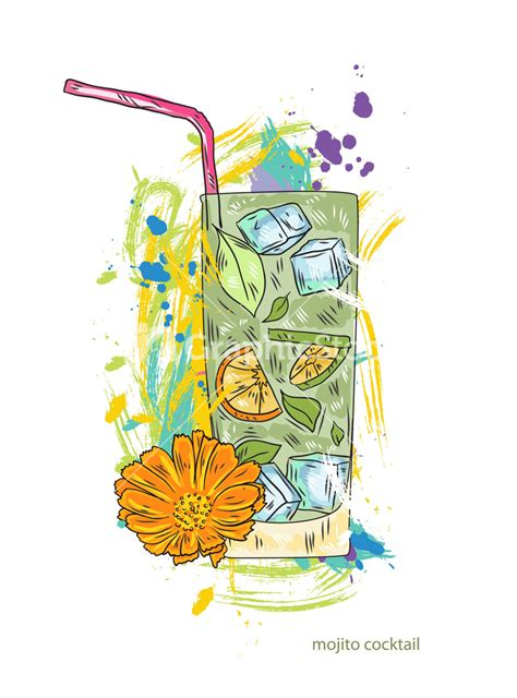 cocktail illustration mojito cocktail vector illustration stock image