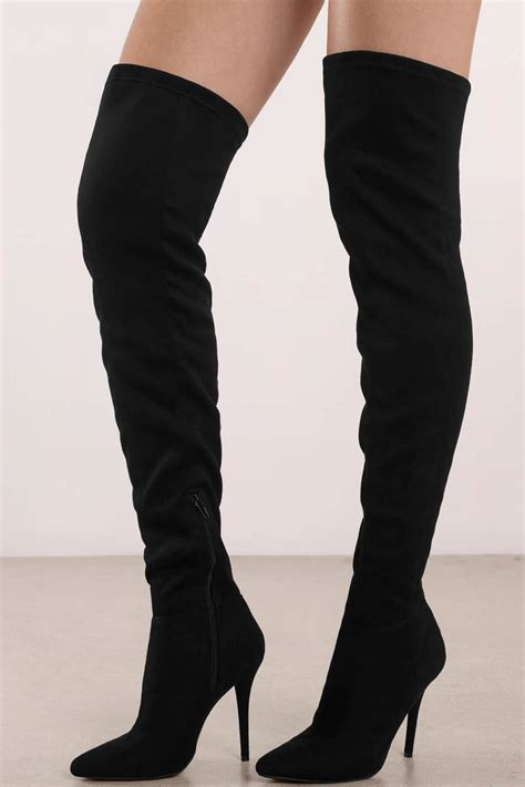 walking in thigh high boots made for walking black faux suede thigh high boots 49