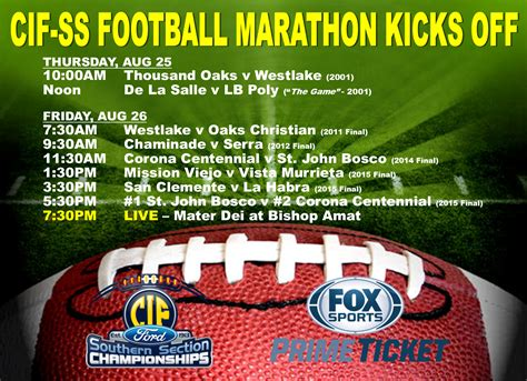 Cif Southern Section Coaches Wanted by Fox Sports Cif Ss Football Marathon Aug 25 26 Cif