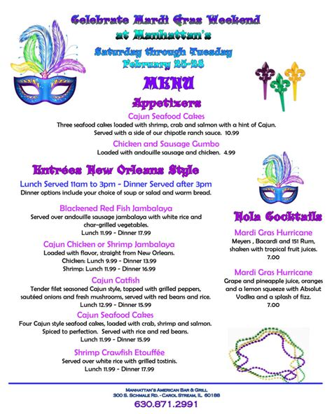 four days of mardi gras festivities at manhattan s in - Mardi Gras Dinner Menu