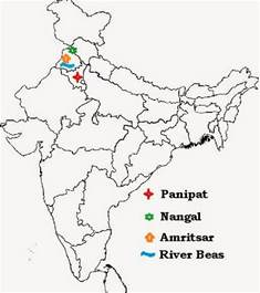 India River Map Outline Plain by Omtex Classes Geography Map Marking For Ssc Students