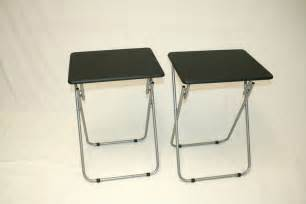 Folding Tv Tray Table Folding Tv Trays Tv Tables Black Tops Set Of 2 Ebay