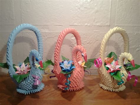Origami Baskets - 3d origami swan basket with flowers by akvees on etsy