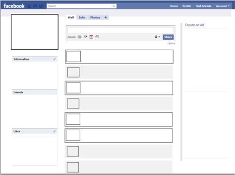 fb layout download free facebook printable template facebook profile page template