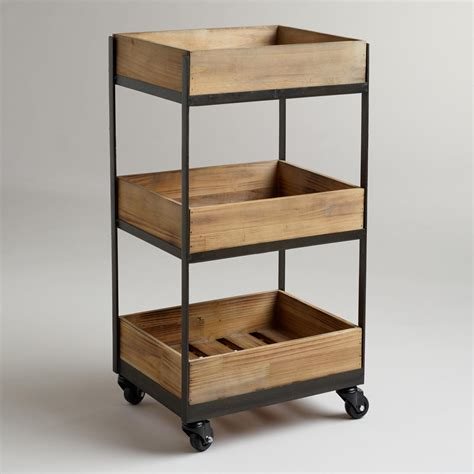 3 Shelf Wooden Gavin Rolling Cart Shelves Storage And Bath Kitchen Storage Carts Cabinets