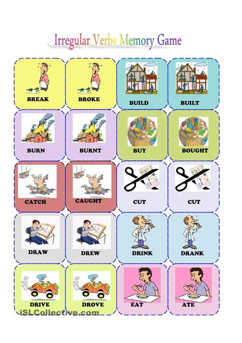 printable games esl irregular verbs memory card game 1 3 worksheet free