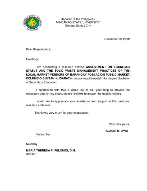 Permission Letter To Barangay Captain Validation Letter For Thesis