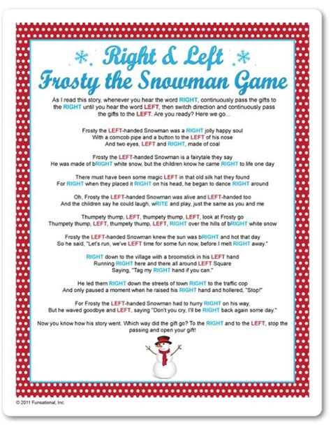 printable christmas party games for work printable right left frosty the snowman game