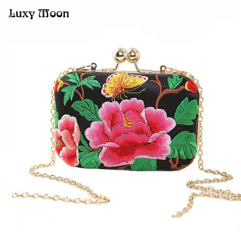 Floral Embroidered Evening Clutch by Vintage Embroidered Floral Evening Clutch Bag