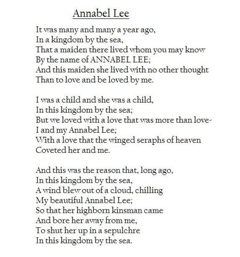 annabel lee by edgar allan poe annabel lee was the last poem ever written by poe edgar