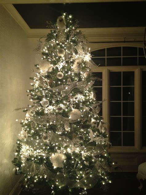 white and silver christmas tree holiday decor pinterest