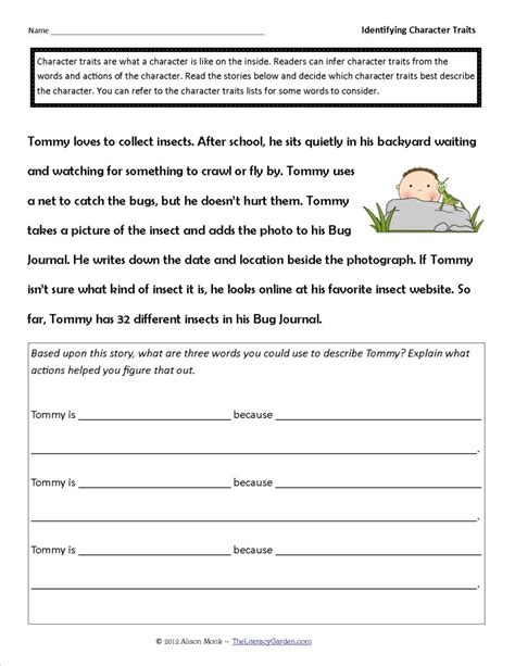 identifying character traits worksheet character trait lessons