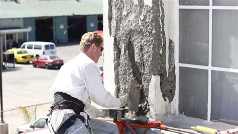 poured cement wall repair and stucco home improvement repair spalling concrete with stucco or cement plaster