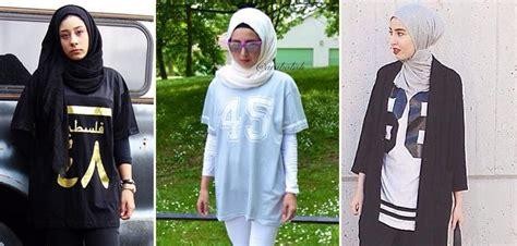 Selebgram T Shirt saat para hijabers memadukan t shirt oversized dan