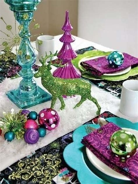 most purple christmas table setting ideas