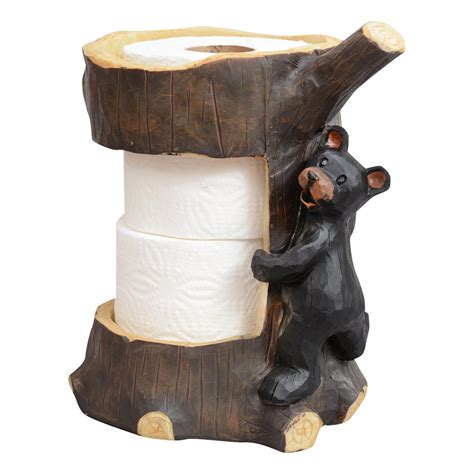 amazon com lodge black bear kitchen paper towel holder black bear and tree toilet paper holder