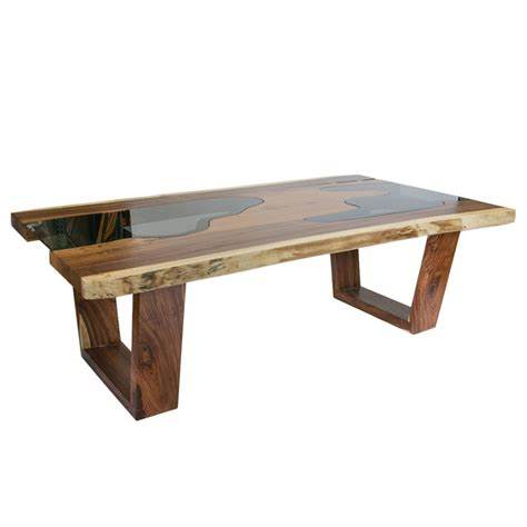 Contemporary Wooden Dining Table Live Edge Solid Wood Slab Dining Table With Glass Inserts Contemporary Dining Tables By