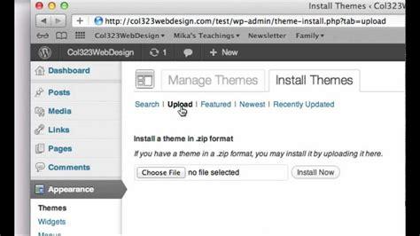 tutorial wordpress dashboard wordpress tutorial how to install a wordpress theme