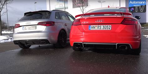 Audi Tt Rs Sound by Audi Tt Rs Crushes Porsche 718 Cayman S In Exhaust Sound