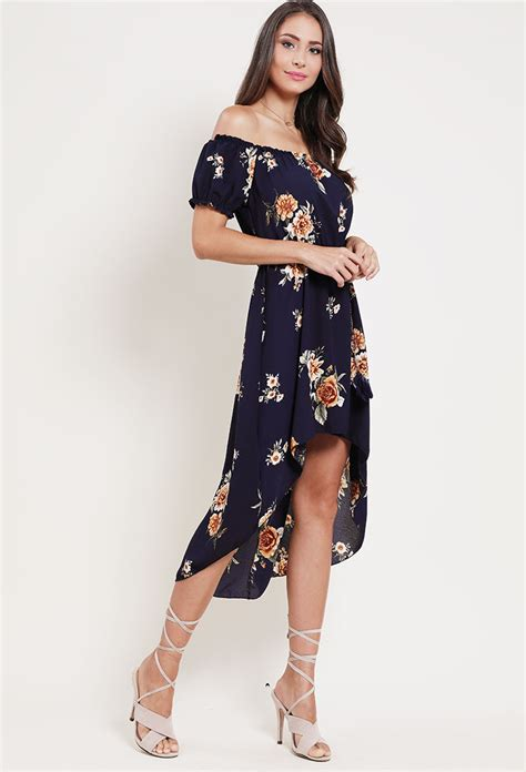 belted high low floral the shoulder dress shop midi