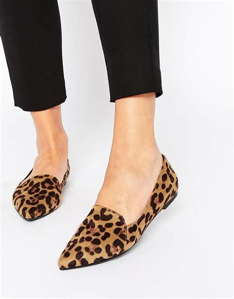 flat leopard shoes image 1 of asos live a pointed ballet flats fall