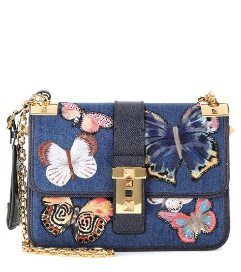 Shoulderbag Denim Onepiece valentino b rockstud embellished denim shoulder bag in