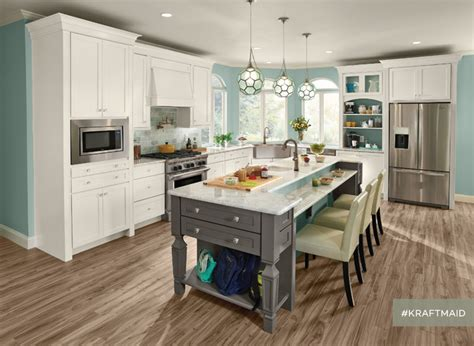 kraftmaid white kitchen cabinets kraftmaid evercore kitchen cabinetry in dove white and