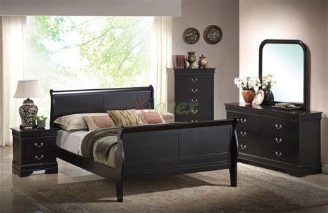 semi gloss sleigh  bedroom furniture set   cherry black white