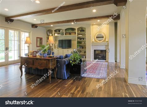 great room flooring great room with wood floors stock photo 35507308