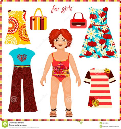 Paper Doll With A Set Of Fashion Clothes Stock Vector Illustration 65123920 Fashion Paper Doll Template