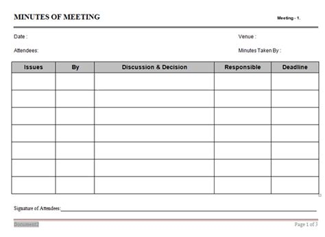 minutes of meeting template meeting minutes template cv templates