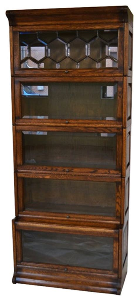 barrister bookcase leaded glass arts and crafts mission oak 5 stack barrister bookcase